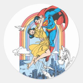 Superman & Lois in Yellow Round Sticker
