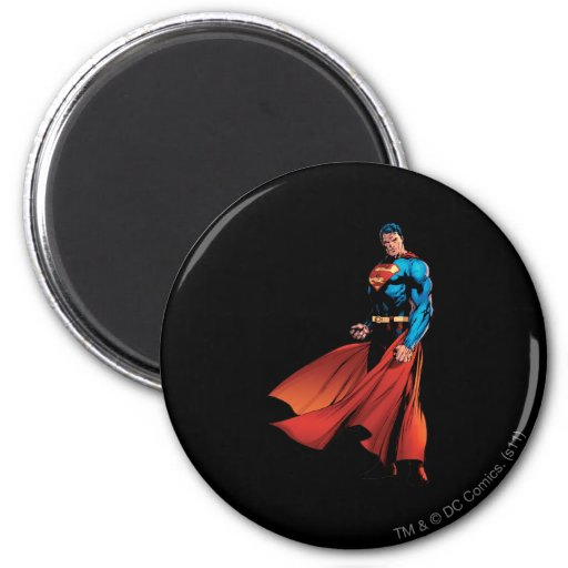 Superman Looks Front 2 Inch Round Magnet