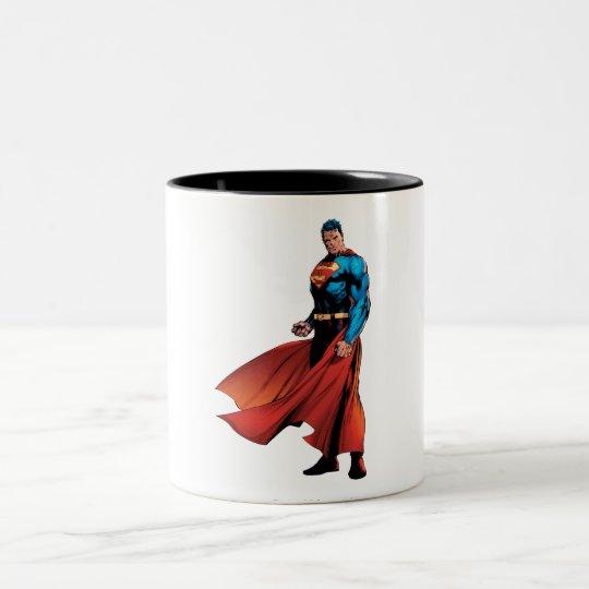 Superman Looks Front Two-Tone Coffee Mug