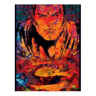 Superman Orange Grunge Postcard