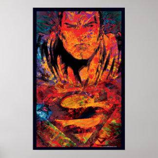 Superman Orange Grunge Poster