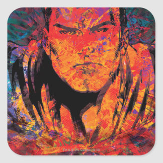 Superman Orange Grunge Square Sticker