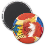 Superman Painted Logo 2 Inch Round Magnet