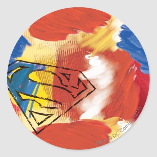 Superman Painted Logo Classic Round Sticker