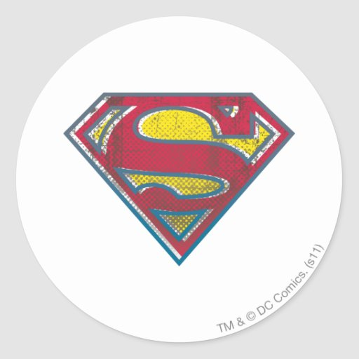 Superman Printed Logo Round Stickers