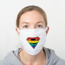 Superman Rainbow Logo White Cotton Face Mask