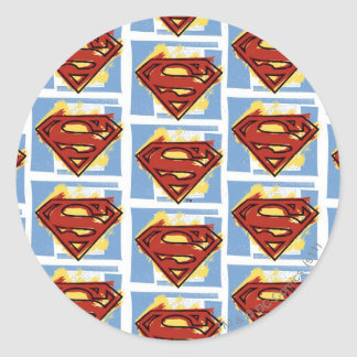 Superman Red and Blue Pattern Classic Round Sticker