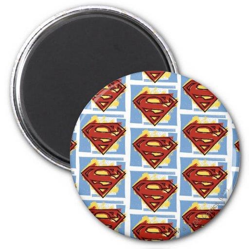 Superman Red and Blue Pattern Fridge Magnet