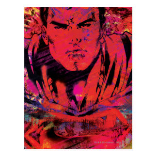 Superman Red Grunge Postcard