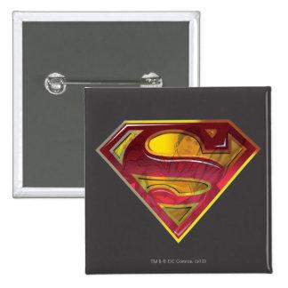 Superman Reflection S-Shield 2 Inch Square Button