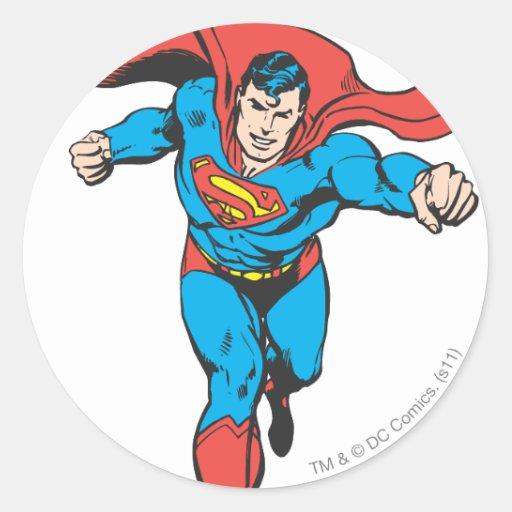 Superman Runs Forward 2 Round Sticker
