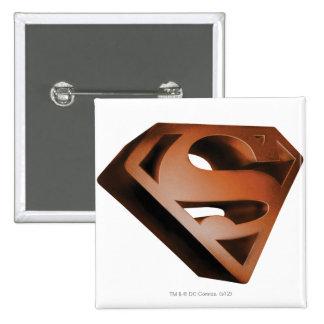 Superman S-Shield   3D Grainy Logo Pinback Button