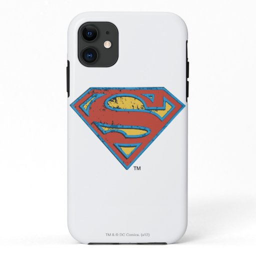 Superman S-Shield | Blue Outline Grunge Logo iPhone 11 Case
