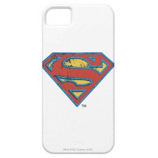 Superman S-Shield | Blue Outline Grunge Logo iPhone SE/5/5s Case