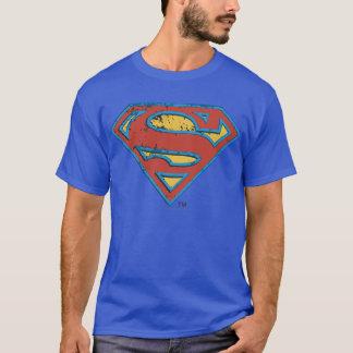 Superman S-Shield | Blue Outline Grunge Logo T-Shirt