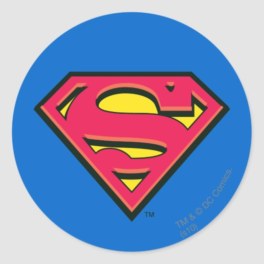Superman s shield classic logo classic round sticker