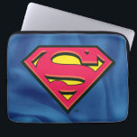 "Superman S-Shield | Classic Logo Laptop Sleeve<br><div class=""desc"">A beveled version of the classic Superman S-Shield logo atop a blue fabric texture.</div>"