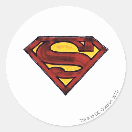 Superman S-Shield | Darkened Red Logo Classic Round Sticker