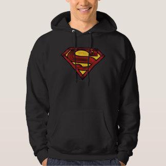Superman S-Shield | Darkened Red Logo Hooded Pullover