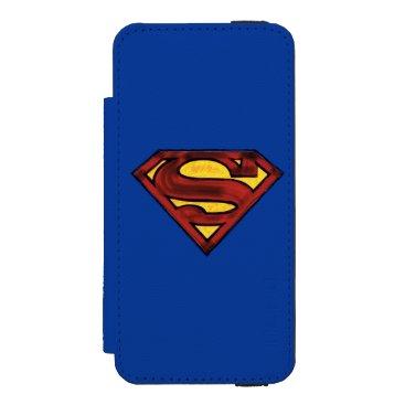 Superman S-Shield | Darkened Red Logo Wallet Case For iPhone SE/5/5s