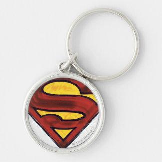 Superman S-Shield   Darkened Red Logo Keychain