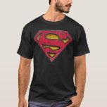 "Superman S-Shield   Distressed Logo T-Shirt<br><div class=""desc"">Metropolis Showdown</div>"