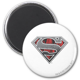 Superman S-Shield | Grey and Red City Logo 2 Inch Round Magnet