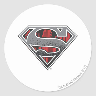 Superman S-Shield | Grey and Red City Logo Classic Round Sticker