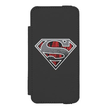 Superman S-Shield | Grey and Red City Logo Wallet Case For iPhone SE/5/5s
