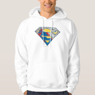 Superman S-Shield   Grey Yellow Red Black Mix Logo Hoodie