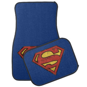 Superman S Shield Grunge Black Outline Logo Car Floor Mat