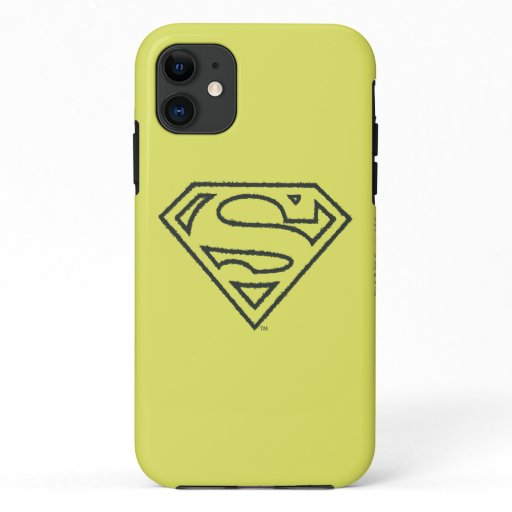 Superman S-Shield | Grunge Black Outline Logo iPhone 11 Case
