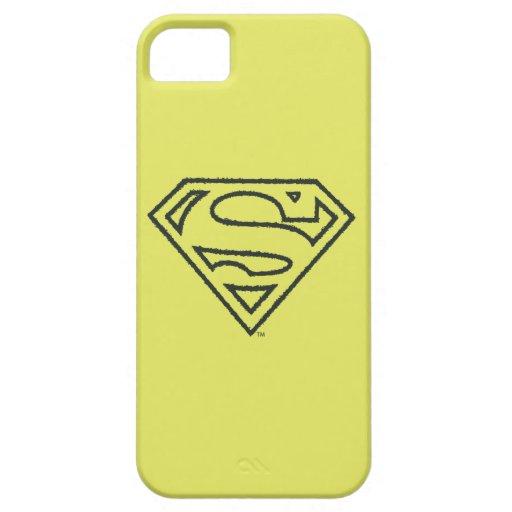 Superman S-Shield | Grunge Black Outline Logo iPhone SE/5/5s Case