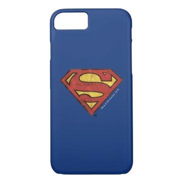 Superman S-Shield | Grunge Black Outline Logo iPhone 8/7 Case