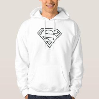 Superman S-Shield | Grunge Black Outline Logo Hoodie
