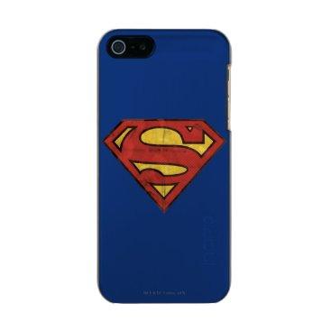 Superman S-Shield | Grunge Black Outline Logo Metallic iPhone SE/5/5s Case