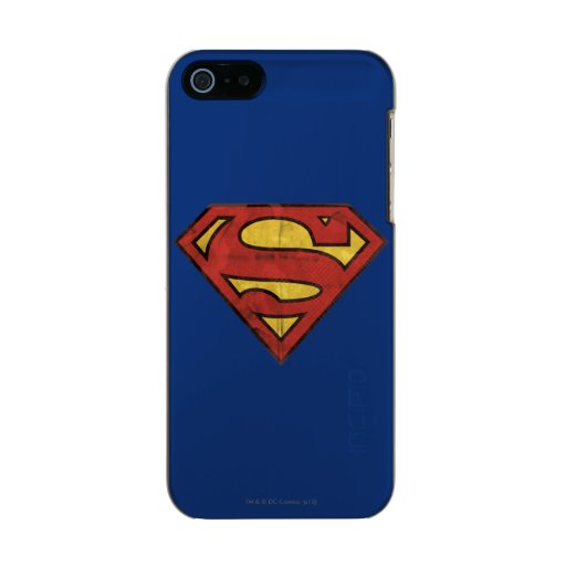 Superman S-Shield | Grunge Black Outline Logo Metallic iPhone SE/5/5s Case