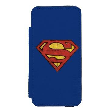Superman S-Shield | Grunge Black Outline Logo iPhone SE/5/5s Wallet Case