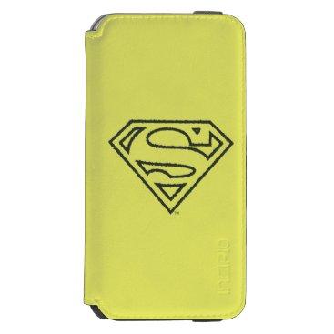 Superman S-Shield   Grunge Black Outline Logo iPhone 6/6s Wallet Case