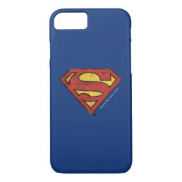 Superman S-Shield | Grunge Black Outline Logo iPhone 8/7 Case
