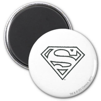 Superman S-Shield | Grunge Black Outline Logo Magnet