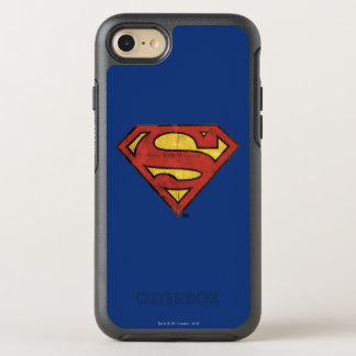 Superman S-Shield | Grunge Black Outline Logo OtterBox Symmetry iPhone 7 Case