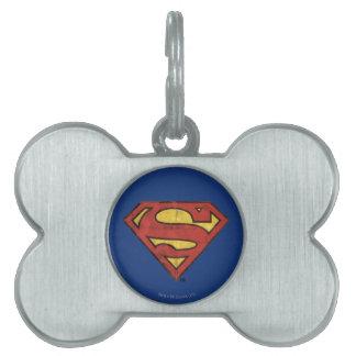 Superman S-Shield | Grunge Black Outline Logo Pet ID Tag