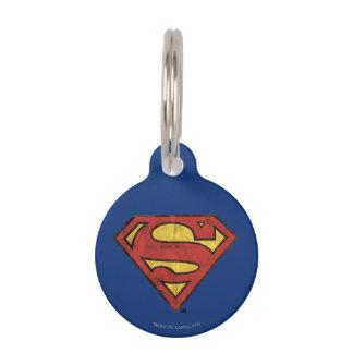 Superman S-Shield   Grunge Black Outline Logo Pet Tag