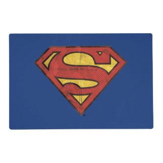 Superman S-Shield | Grunge Black Outline Logo Placemat