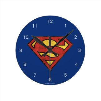 Superman S-Shield | Grunge Black Outline Logo Round Clock