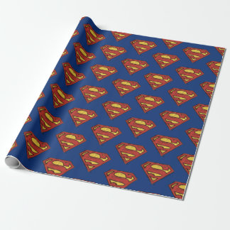 Superman S-Shield | Grunge Black Outline Logo Wrapping Paper