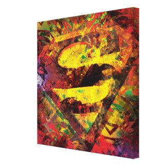 Superman S-Shield   Grunge Logo Canvas Print