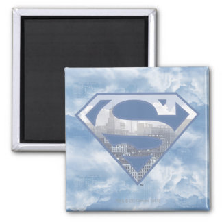 Superman S-Shield | Light Blue City Logo 2 Inch Square Magnet