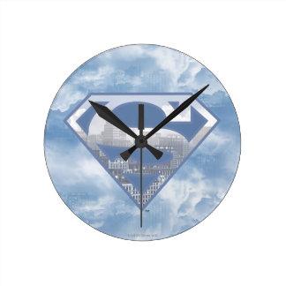 Superman S-Shield | Light Blue City Logo Round Clock